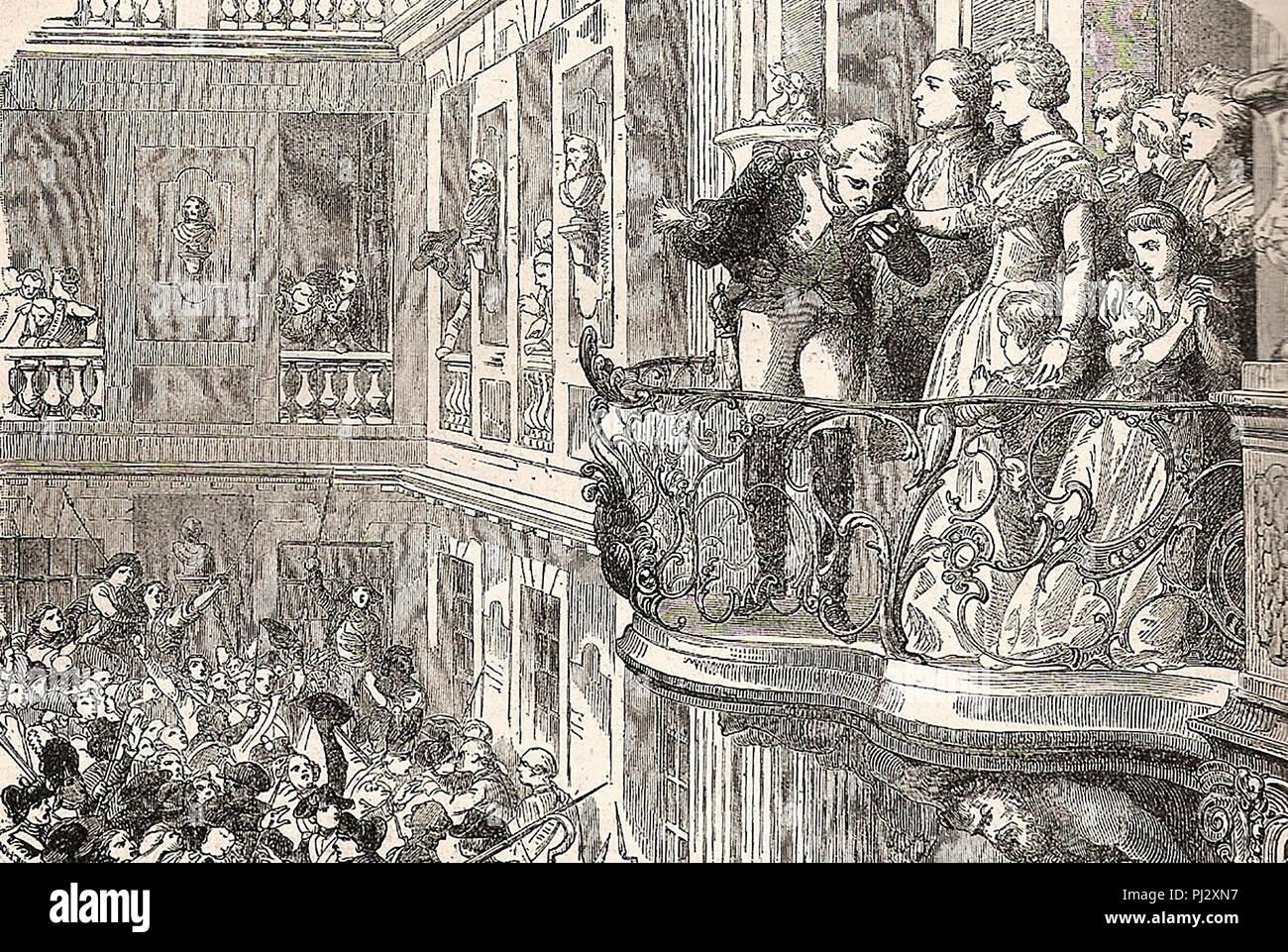La Fayette baci Maria Antonietta la mano. 1789 Immagini Stock