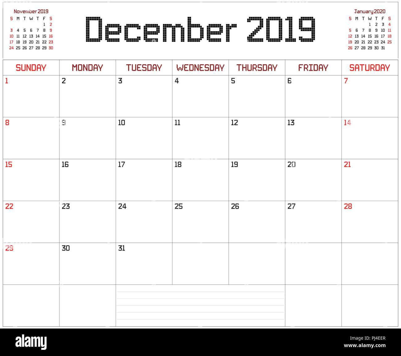 Calendario Mese Dicembre 2019.2019 Dicembre Planner Un Pianificatore Mensile Calendario