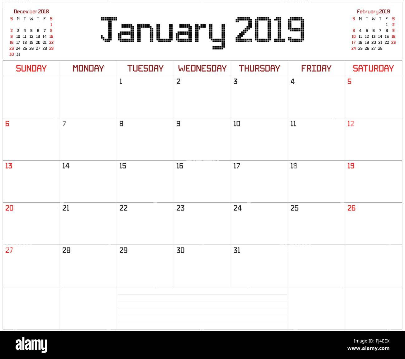 Calendario Gennaio.2019 Gennaio Planner Un Pianificatore Mensile Calendario