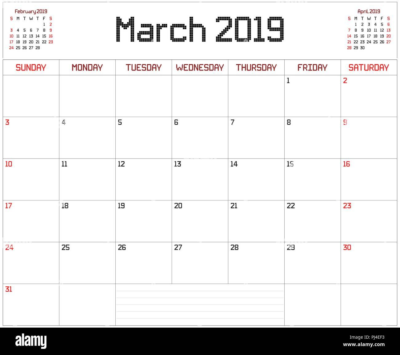 Calendario Di Marzo.Anno 2019 Marzo Planner Un Pianificatore Mensile