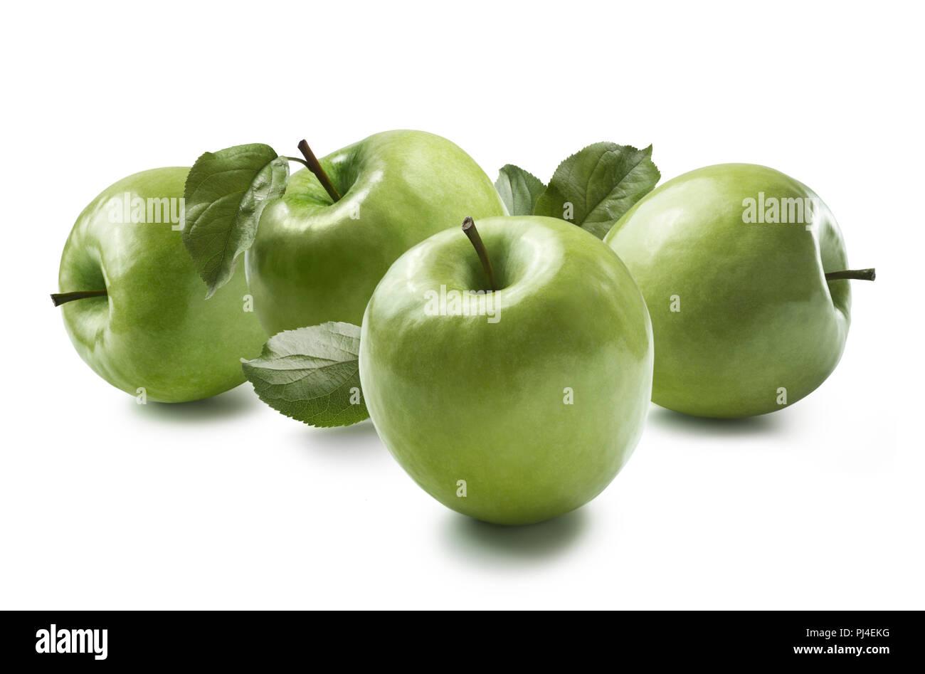 Cucina verde mele Granny Smith isolati su sfondo bianco in ...
