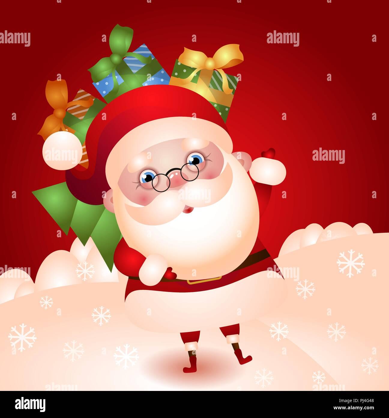 Sfondi Babbo Natale.Albero Di Natale Di Babbo Natale Con Un Sacco Di Doni Su Uno Sfondo Di Colore Rosso Del Campo Innevato Accoglie Immagine E Vettoriale Alamy