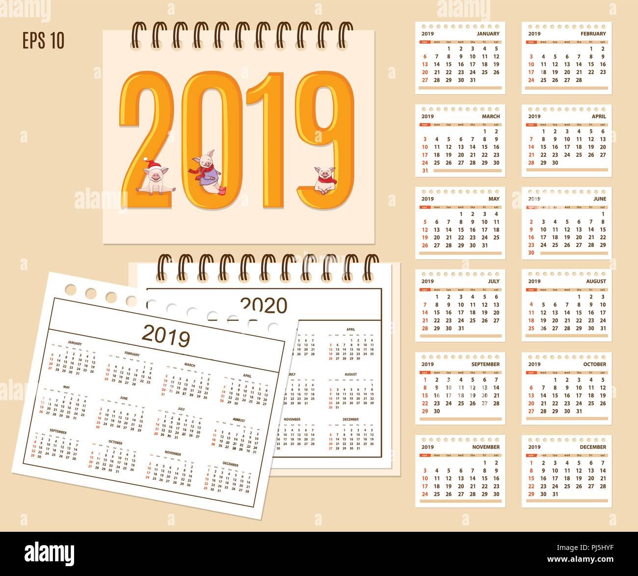 Calendario Con Le Settimane 2020.Escursioni Calendario 2019 Con Cartoon Carino Piggies Sul