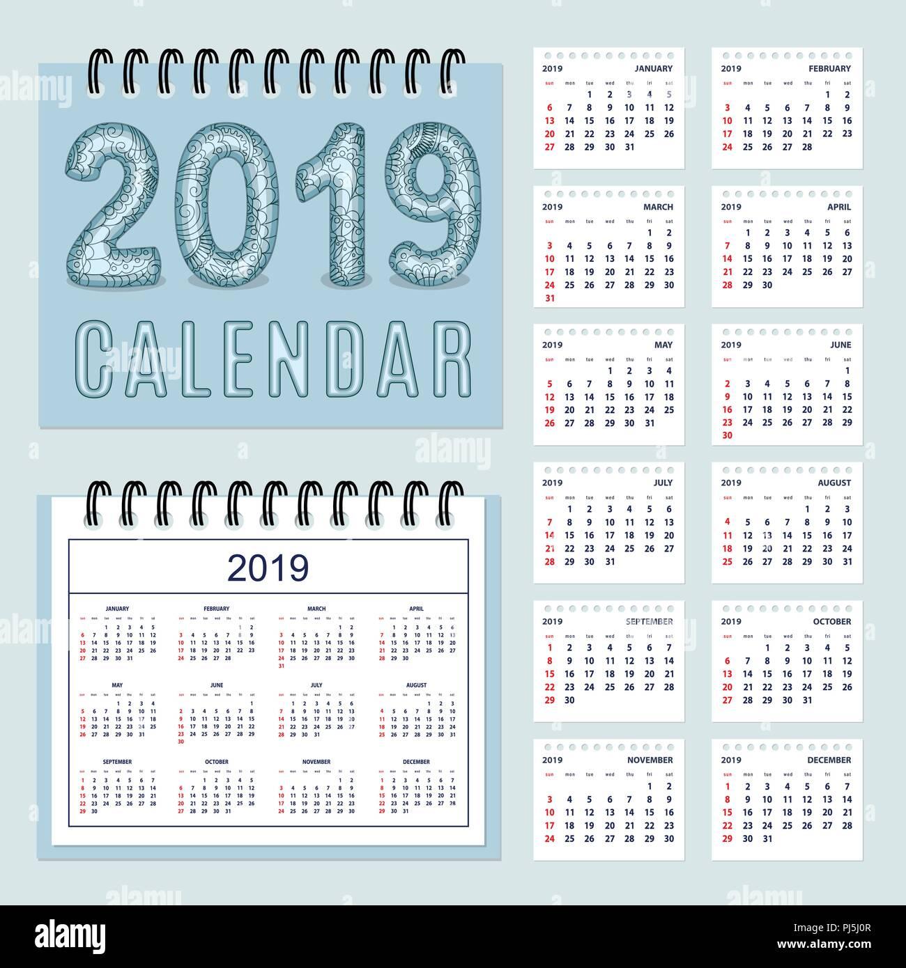 Calendario Numero Settimana 2019.Americano Classico Calendario Da Parete 2019 Con Zen