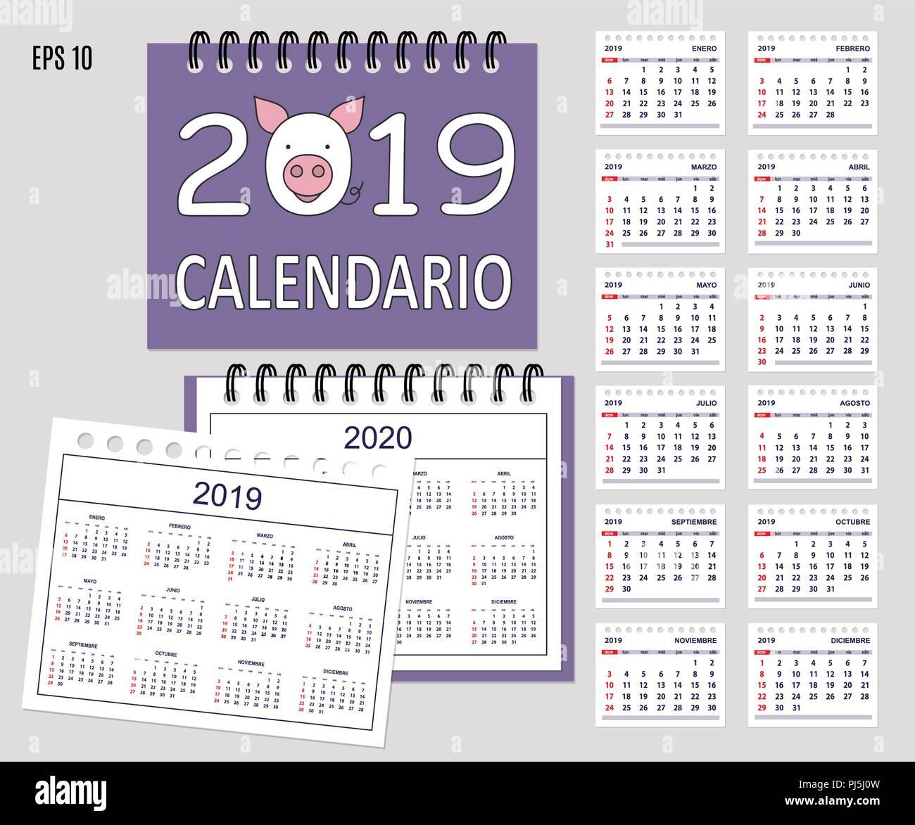 Calendario Con Le Settimane 2020.Escursioni Calendario 2019 Con Il Cartoon Muso Di Maiale Sul