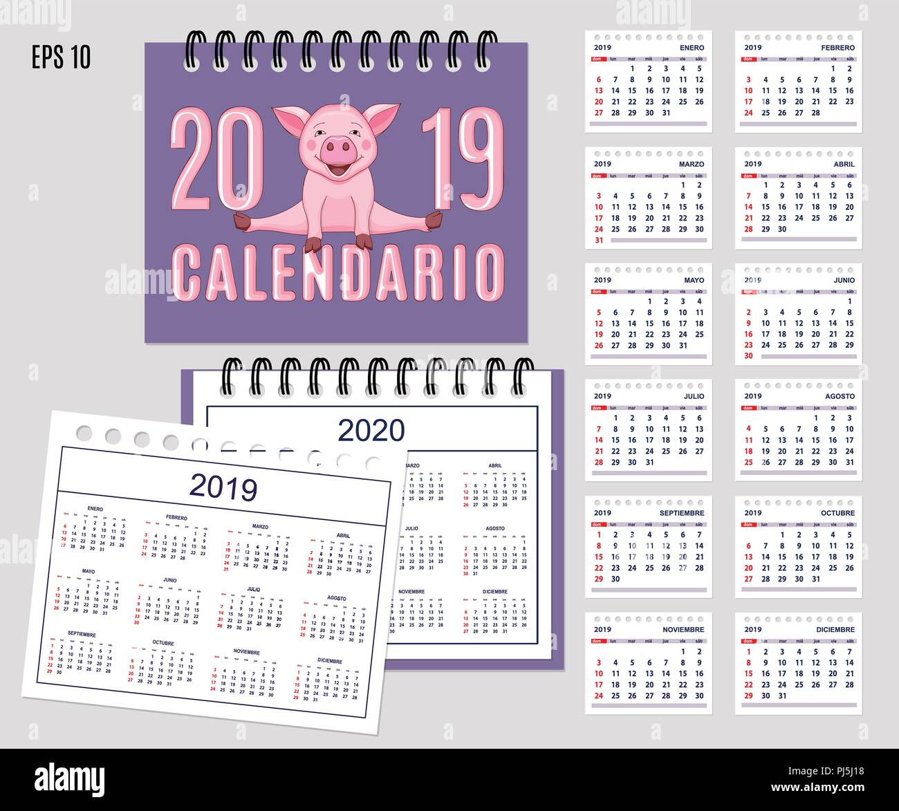 Calendario Con Le Settimane 2020.Escursioni Calendario 2019 Con Cartoon Carino Piggy Sul