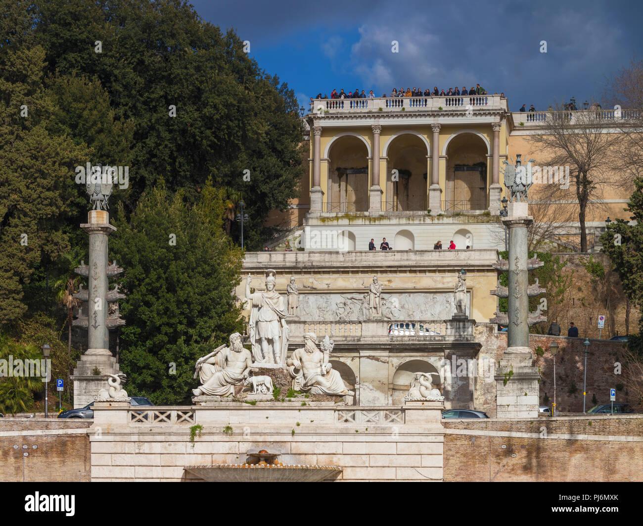Fontana della Dea di Roma, Pincio, il Pincio, Piazza del Popolo, Roma, lazio, Italy Immagini Stock