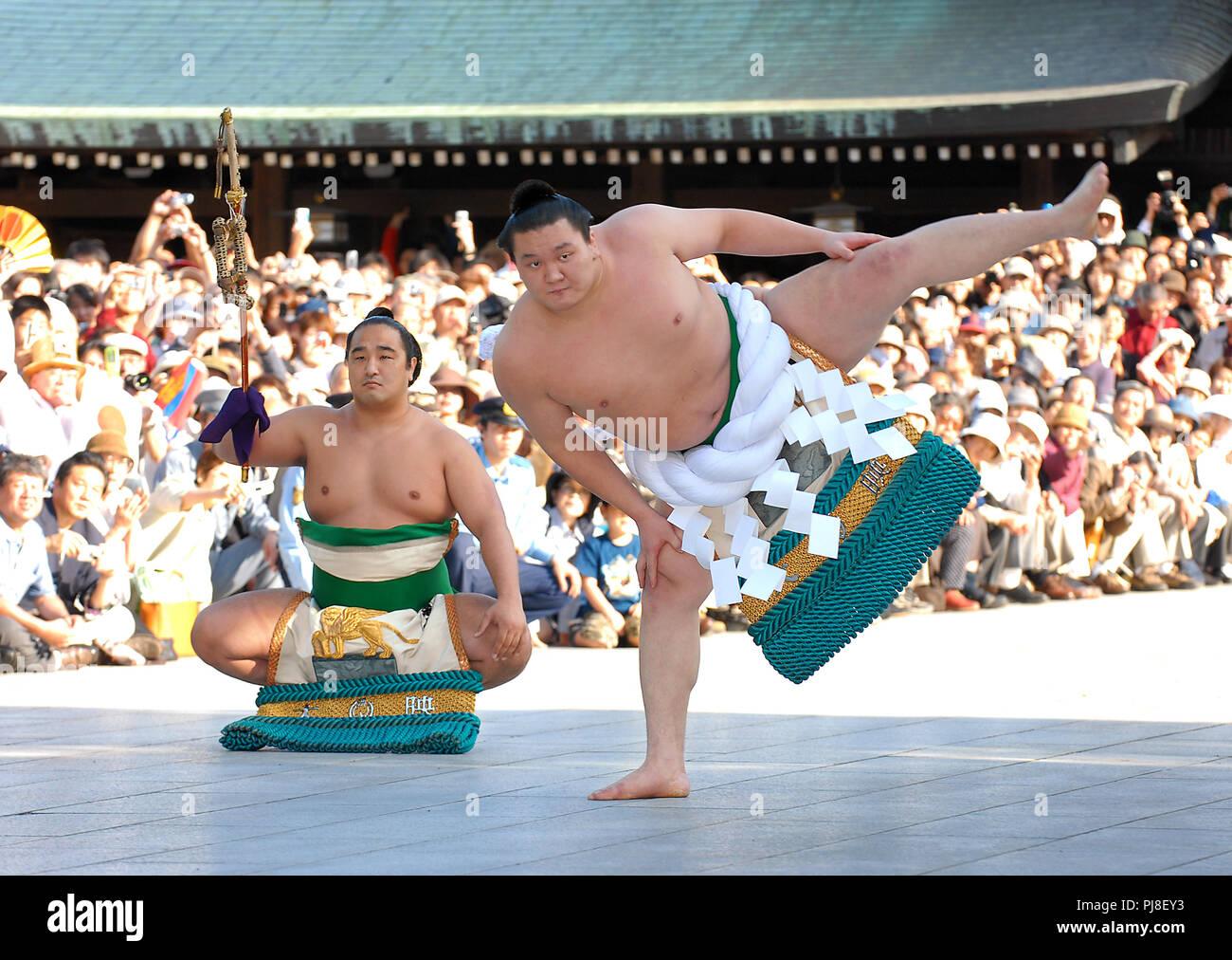 Mongolo lottatore di sumo Hakuho, indossando un grand champion cerimoniale cintura di corda, esegue un rituale cerimoniale per segnare la sua promozione al rango di yok Foto Stock