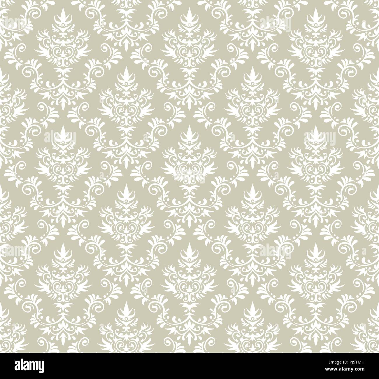 Il vecchio stile carta da parati damascata. Vettore senza giunture floreali. Immagini Stock