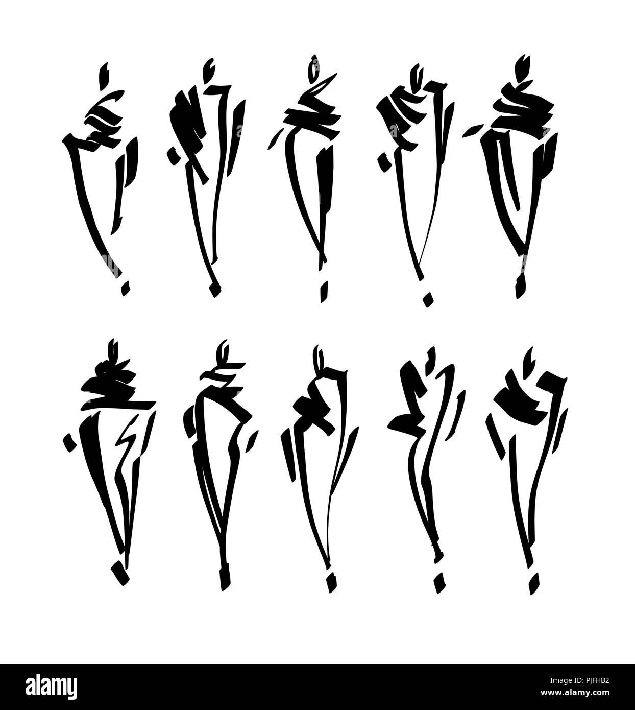Modelli di moda Bozzetto disegnato a mano , silhouette stilizzata isolato. Vettore illustrazione moda set. Immagini Stock