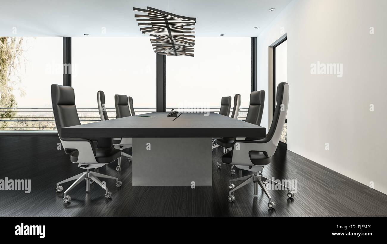Una moderna sala conferenze in un ufficio business con un basso