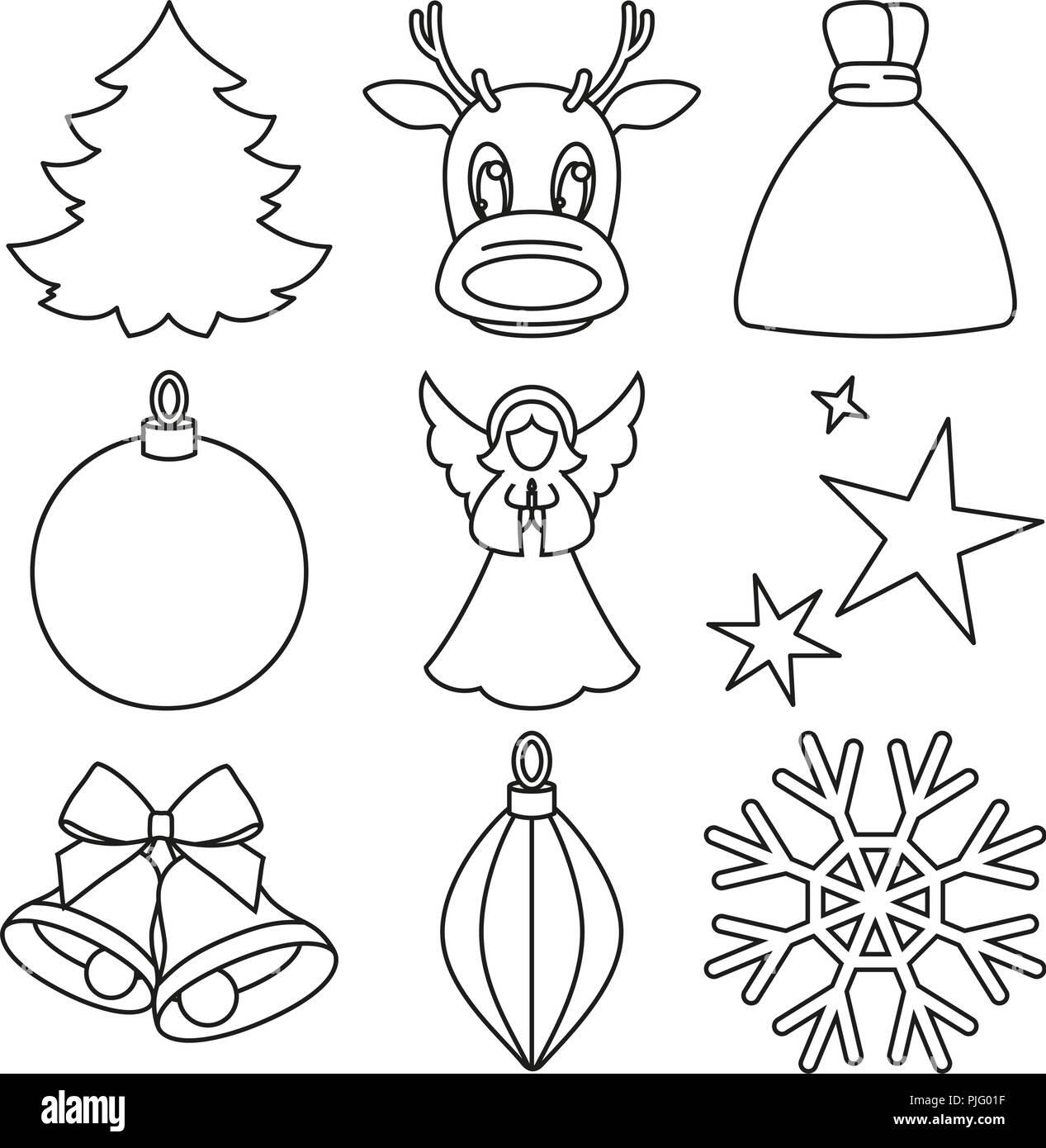 Immagini Natale In Bianco E Nero.In Bianco E Nero La Linea Arte Elementi Di Natale Immagine E Vettoriale Alamy