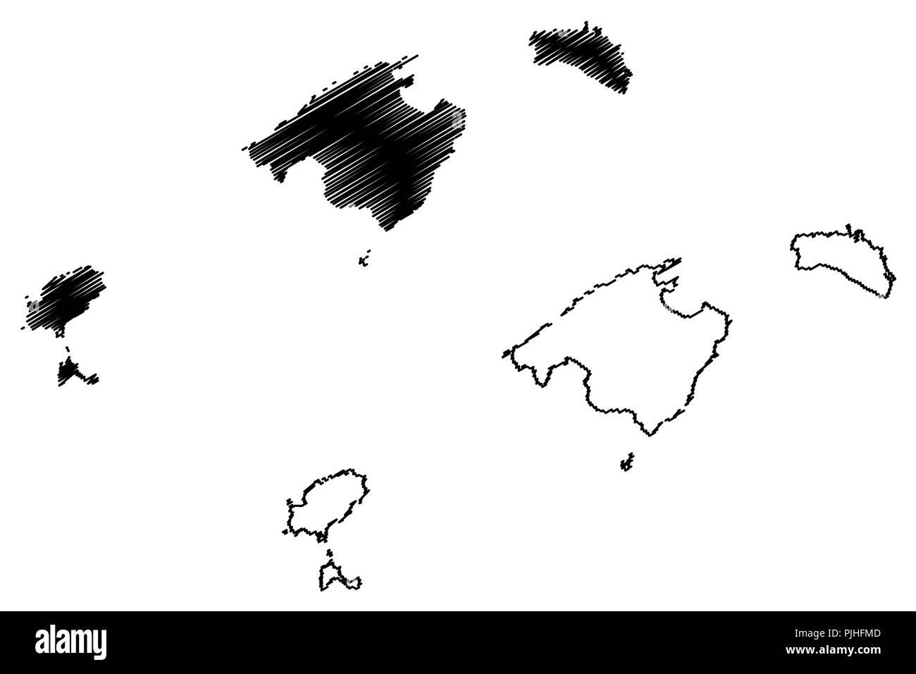 Spagna E Isole Baleari Cartina.Isole Baleari Regno Di Spagna La Comunita Autonoma Mappa Illustrazione Vettoriale Scribble Schizzo Di Maiorca Minorca Ibiza E Formentera Mappa Immagine E Vettoriale Alamy