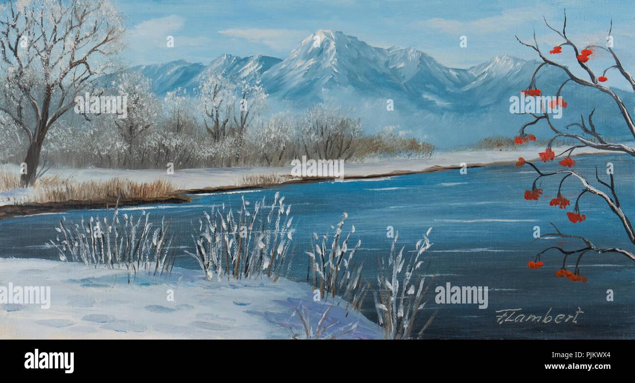 Pittura Di Olio su tela di un lago in inverno con le montagne sullo sfondo Immagini Stock