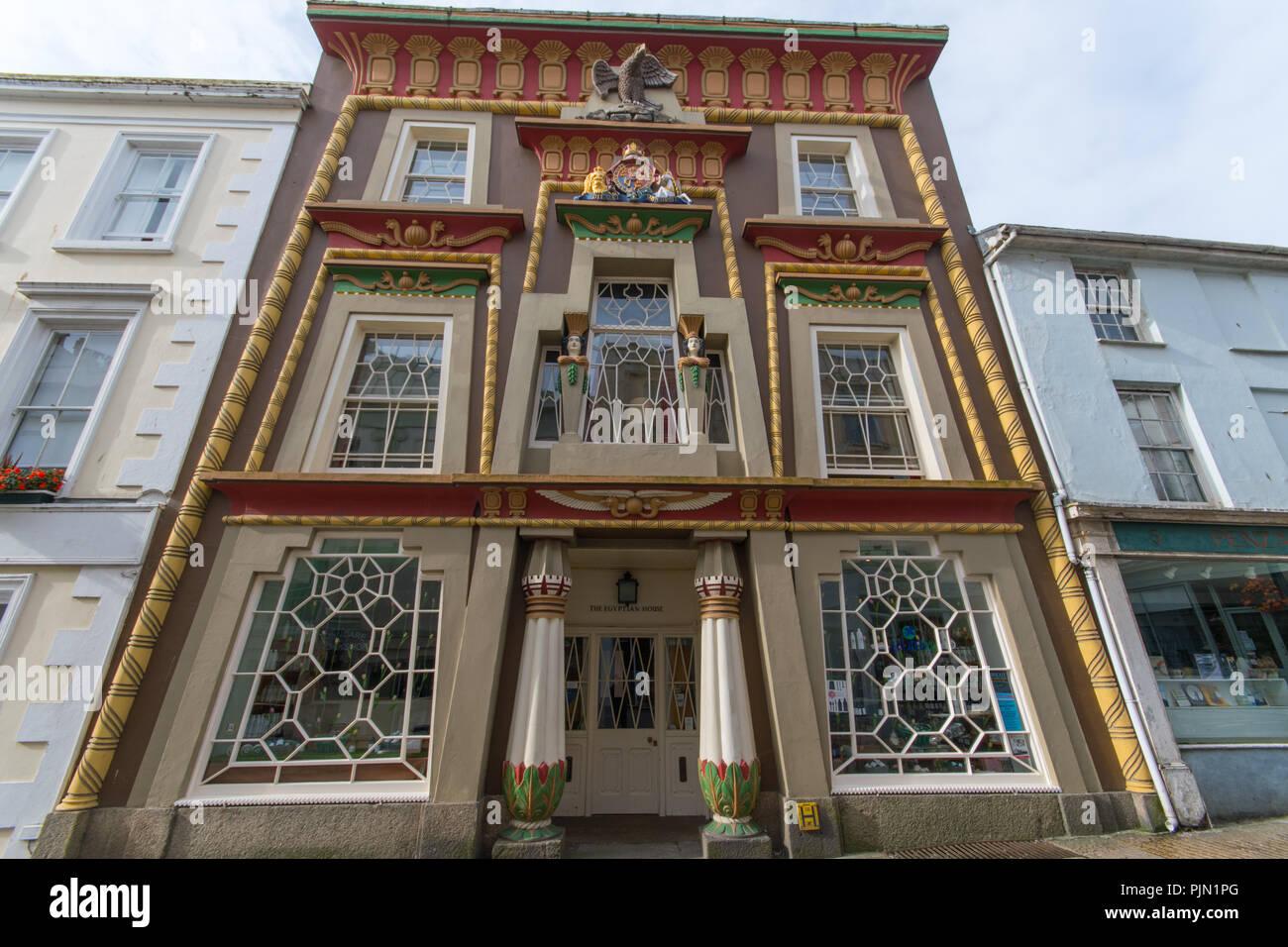 La casa egiziana su Chapel Street Penzance Immagini Stock