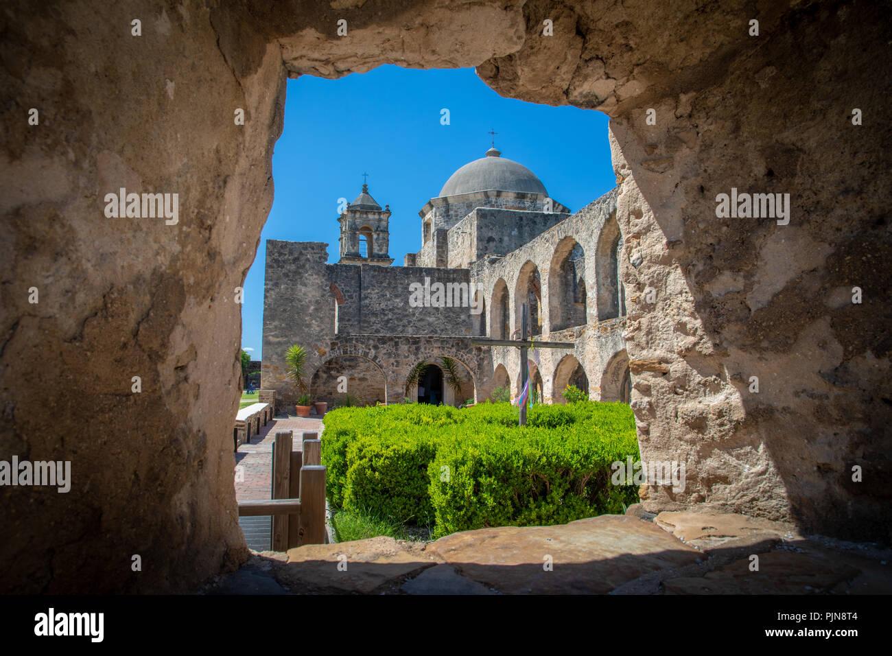 La missione di San José y San Miguel de Aguayo è una storica missione cattolica di San Antonio, Texas, Stati Uniti d'America. Immagini Stock
