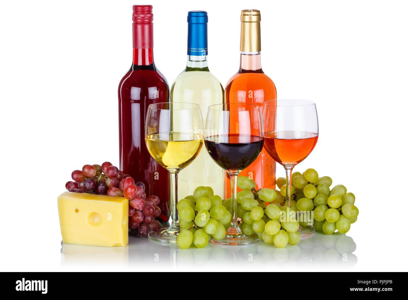 Rose Vino Rosso Vini Formaggi Uva Alcol Isolato Su Uno Sfondo Bianco