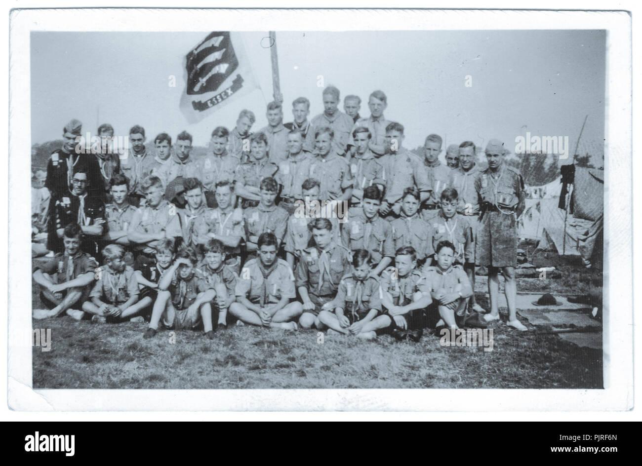Essex truppa scout al 5° World Scout Jamboree, svoltasi a Bloemendaal Vogelenzang Holland, Paesi Bassi,1937 Immagini Stock