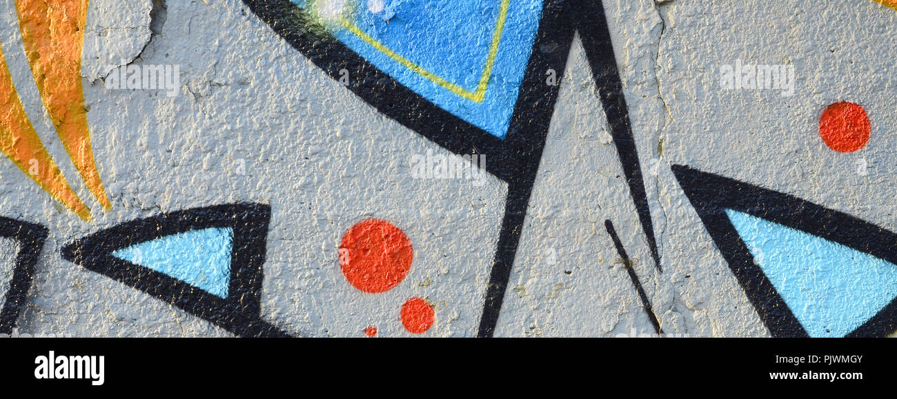 Il vecchio muro dipinto in colore disegno graffiti blue vernici spray. Immagine di sfondo sul tema di disegno di graffiti e arte di strada Foto Stock