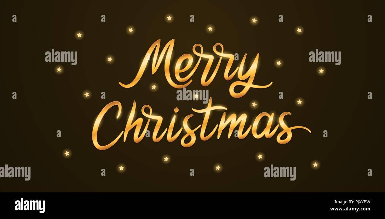 Immagini Con Scritte Di Buon Natale.Golden Scritte Di Buon Natale Illustrazione Vettoriale Di
