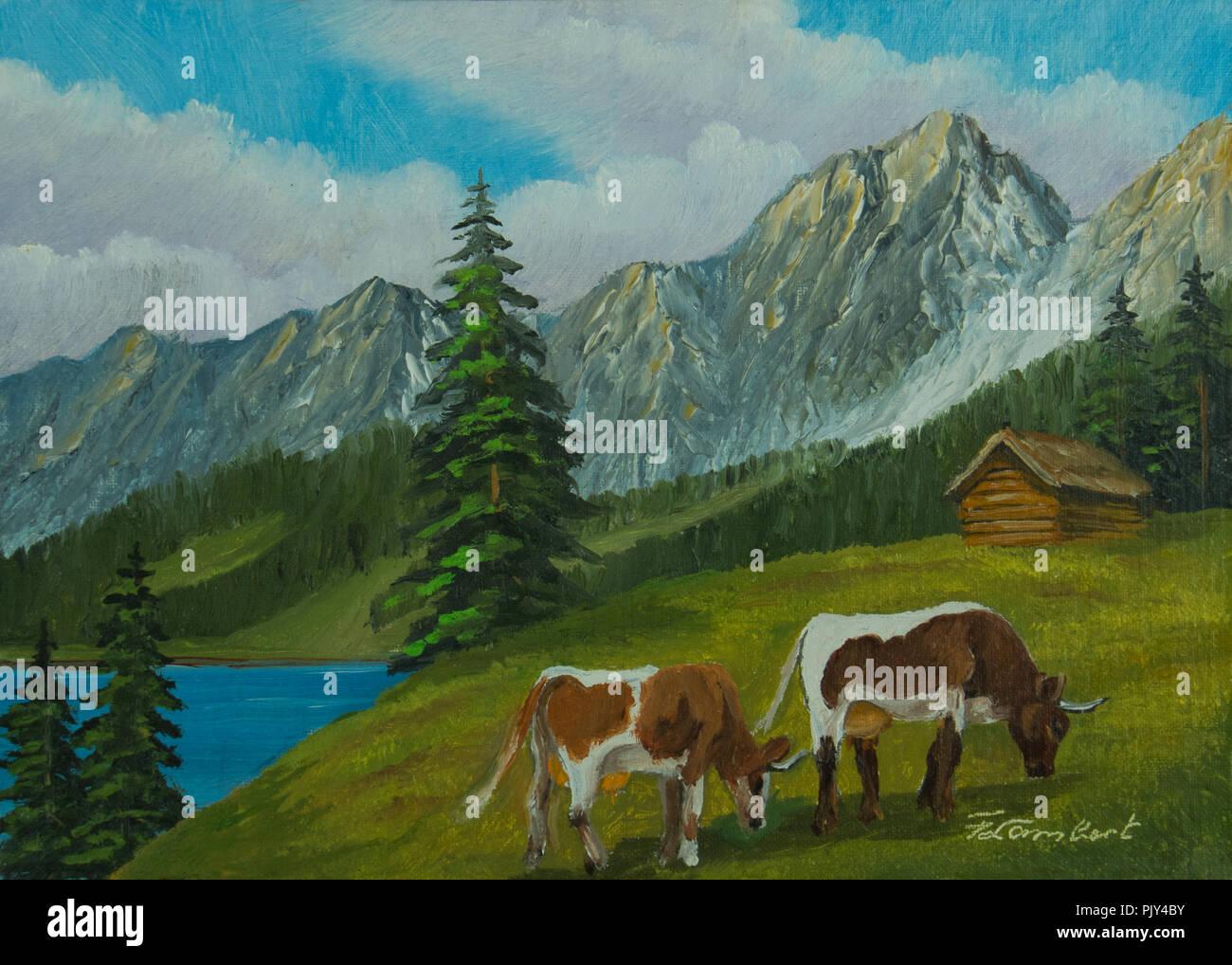 Pittura Di Olio Paesaggio Di Montagna Con Vacche Su Un