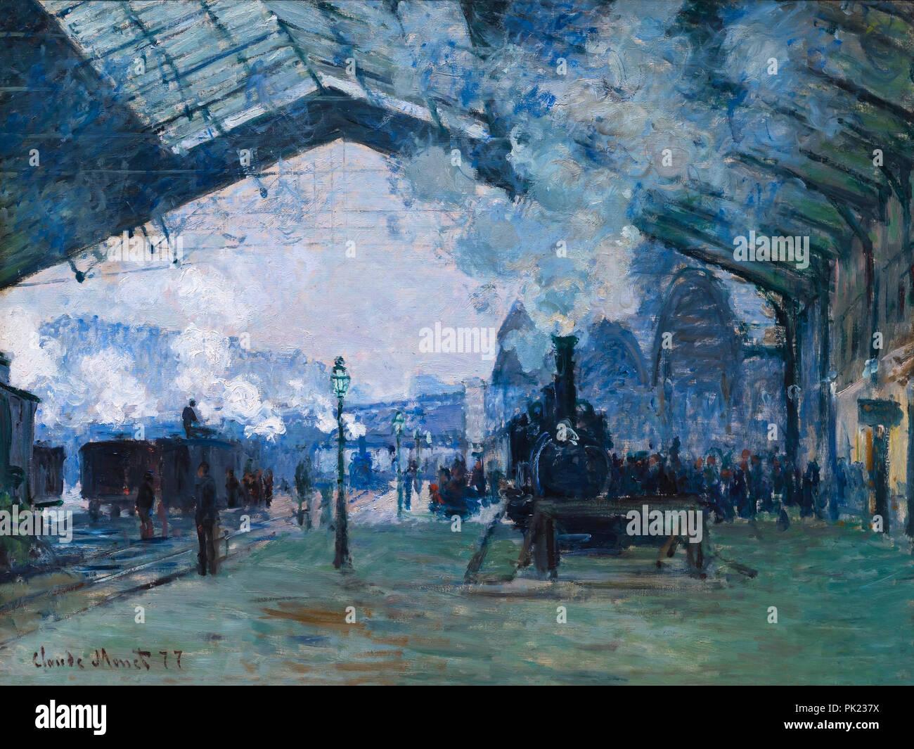 Arrivo del treno della Normandia, Gare Saint-Lazare, Claude Monet, 1877, Art Institute of Chicago, Chicago, Illinois, USA, America del nord, Immagini Stock