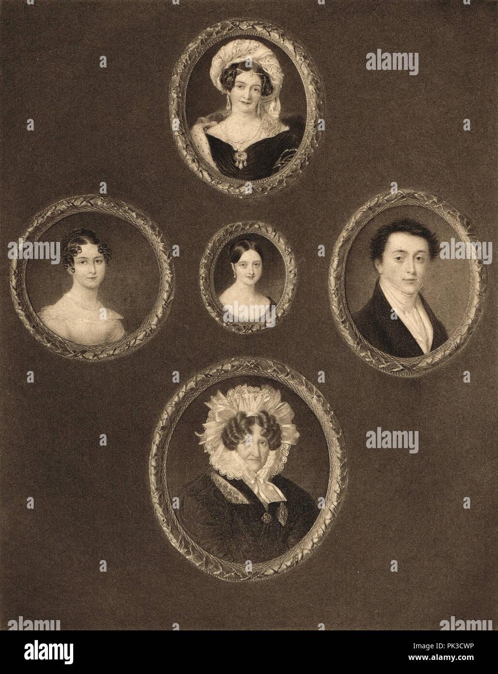 La regina Victoria e alcuni dei suoi rapporti in 5 miniature Immagini Stock