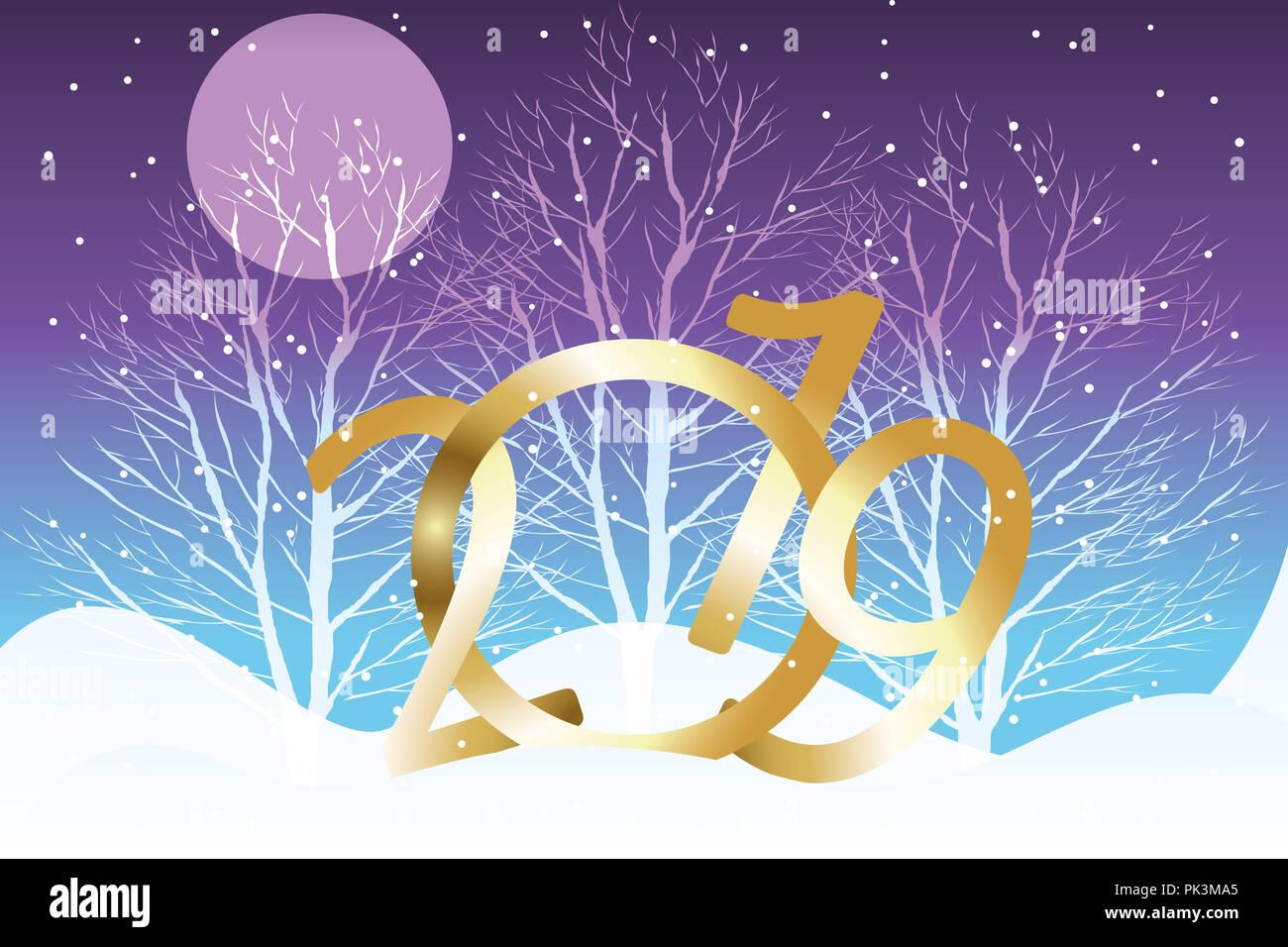Fiocchi Di Neve Di Carta 3d : Illustrazione di golden 3d 2019 notte con silenzioso paesaggio