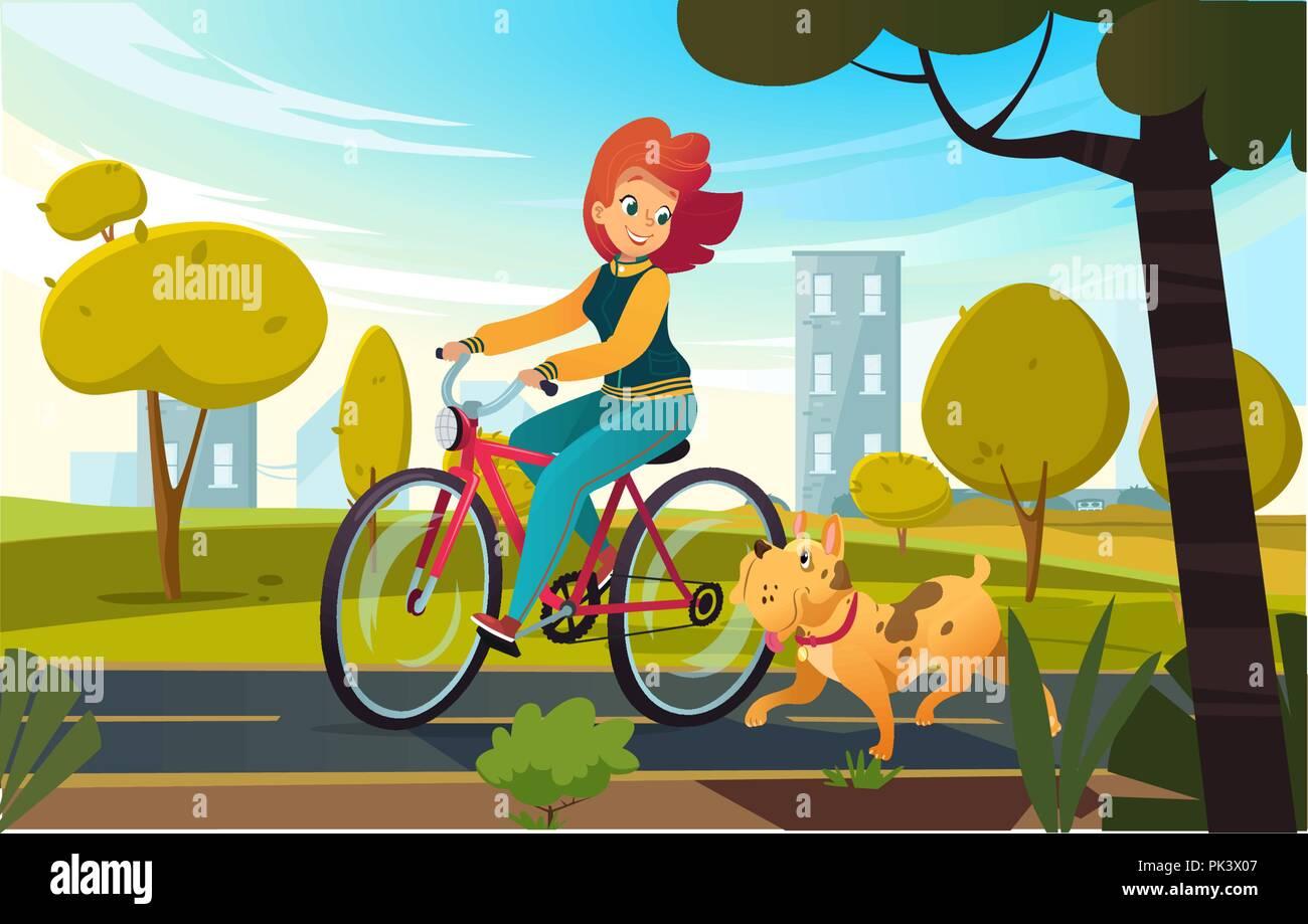 Vector cartoon illustrazione della giovane donna redhead bicicletta