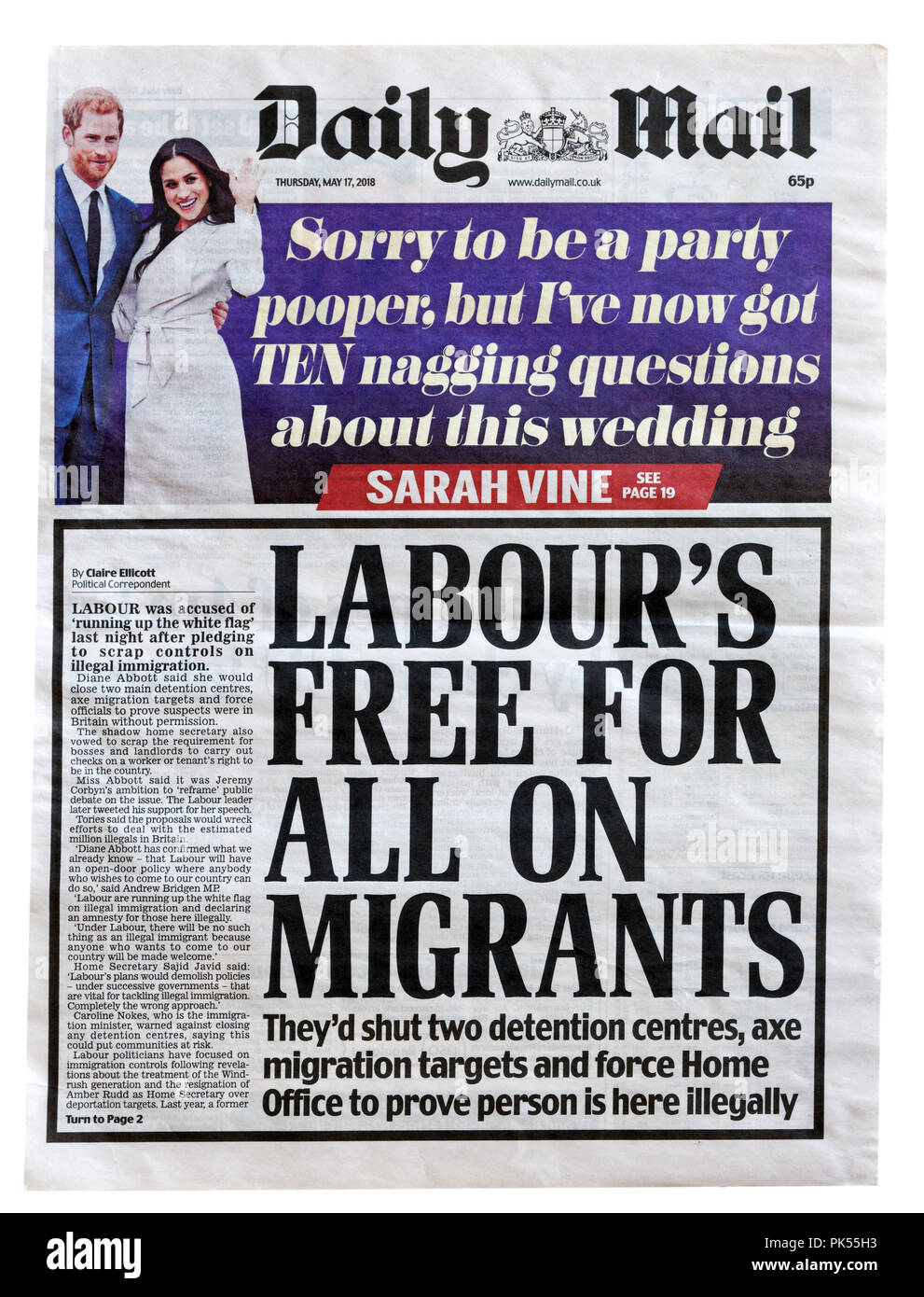 Pagina anteriore del Daily Mail con il titolo del lavoro per libero ...