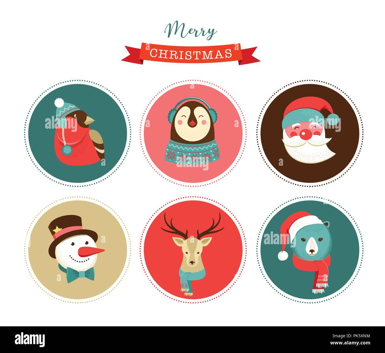 Immagini Natalizie Vettoriali.Buon Natale Icone Stile Retro Elementi E Illustrazione Ed