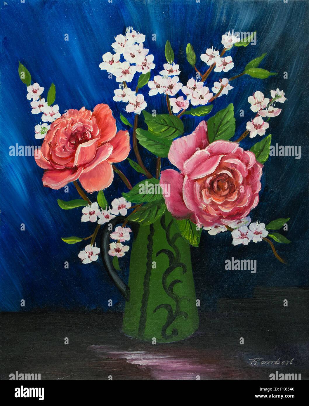 Dipinto ad Olio di varie specie di fiori in un dipinto di verde vase ...