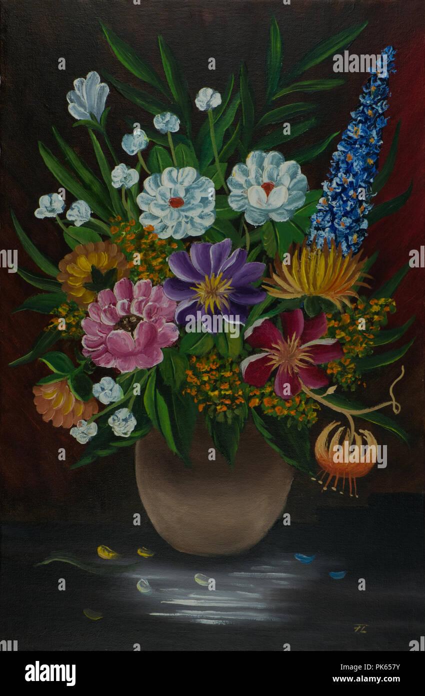 Dipinto ad Olio di un mazzo di fiori in un vaso beige nella parte ...