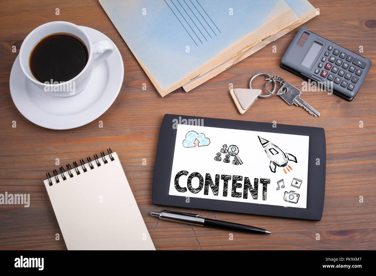 Contenuto, marketing e blogging concep Immagini Stock