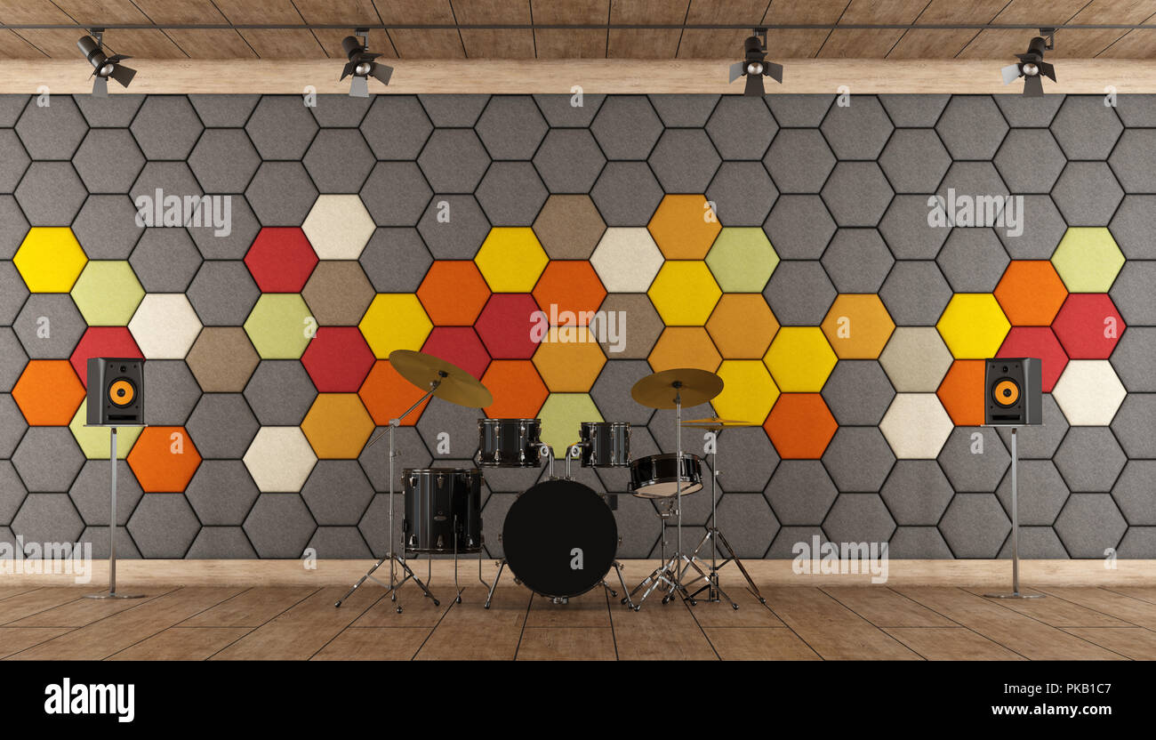 Uno Studio In Nero tamburi di nero in uno studio di registrazione con colorati