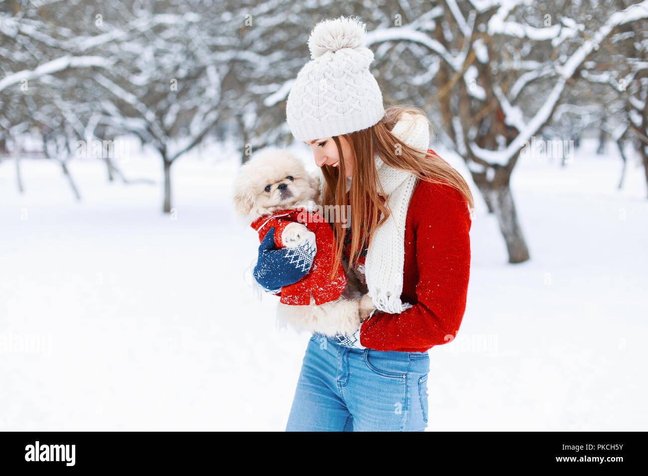 a4a00fa137d3 Giovane bella ragazza in un caldo abbigliamento invernale gioca con un  cucciolo nelle sue braccia nel parco.