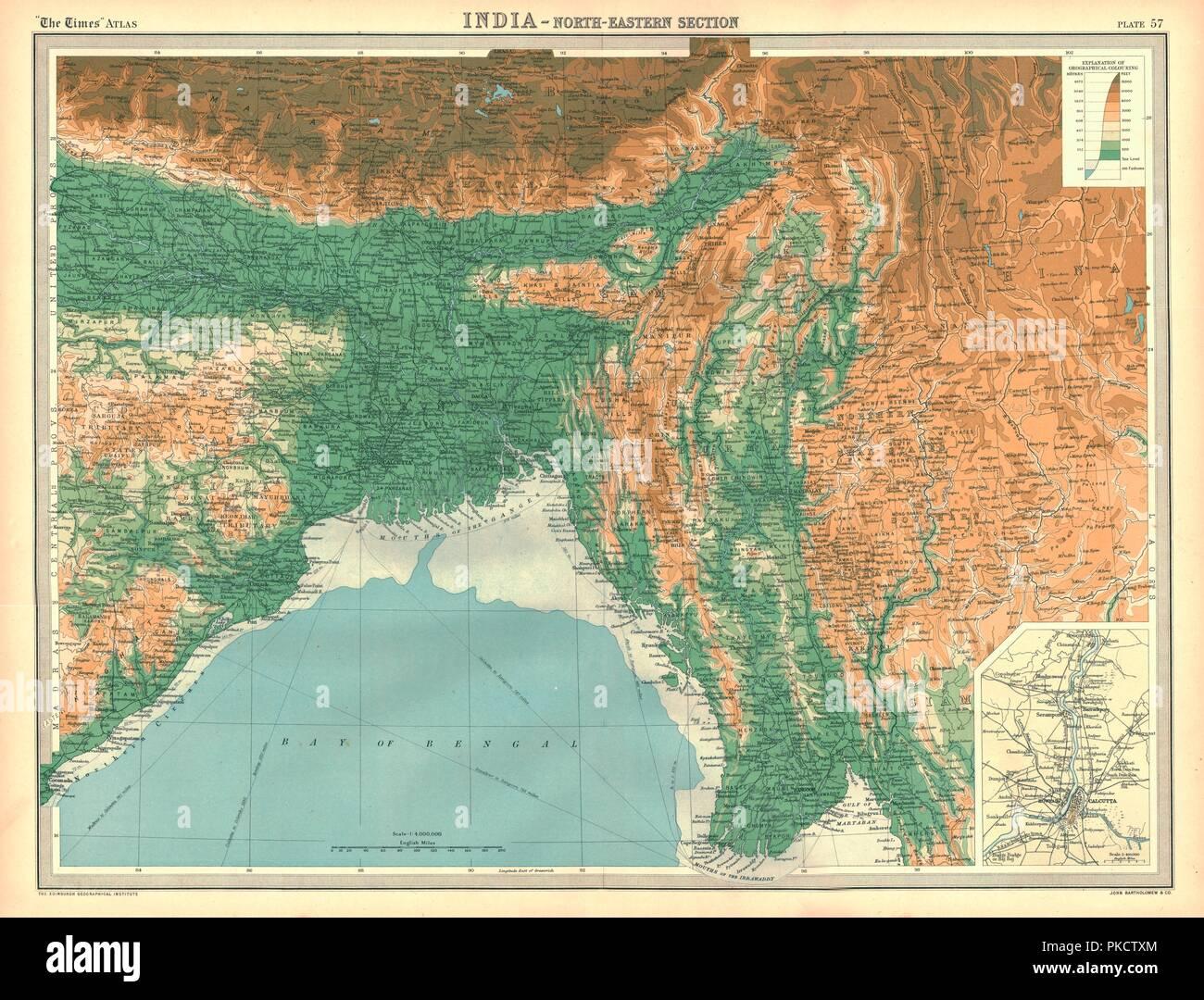 Cartina Dell India Del Nord.Mappa Geografica Del Nord Est Dell India Nei Primi Anni Del Xx Secolo Artista Sconosciuto Foto Stock Alamy