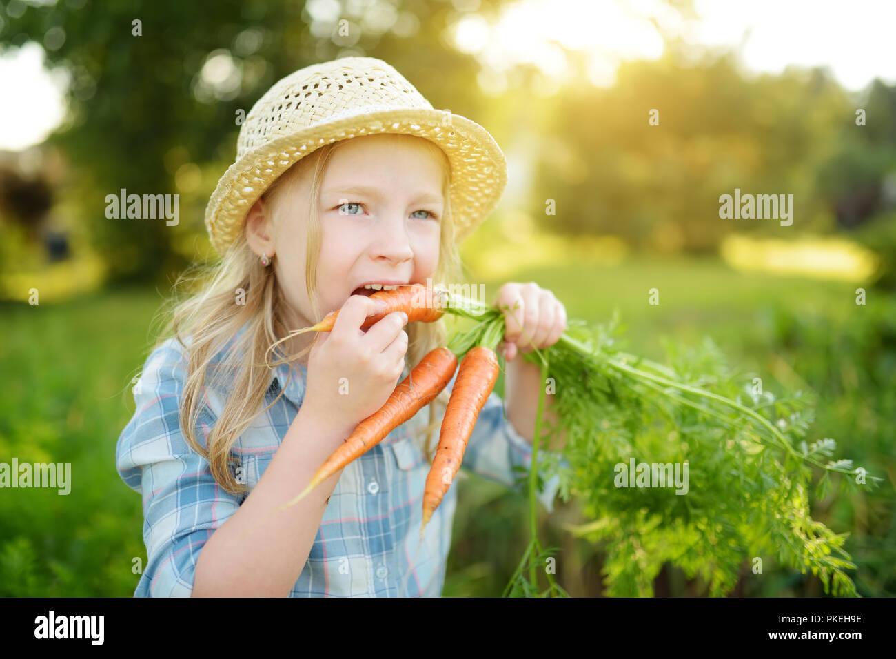 Carino bambina indossa cappello di paglia tenendo un mazzetto di freschi  Carote organico. Fresco e 3c2526c5bbd4