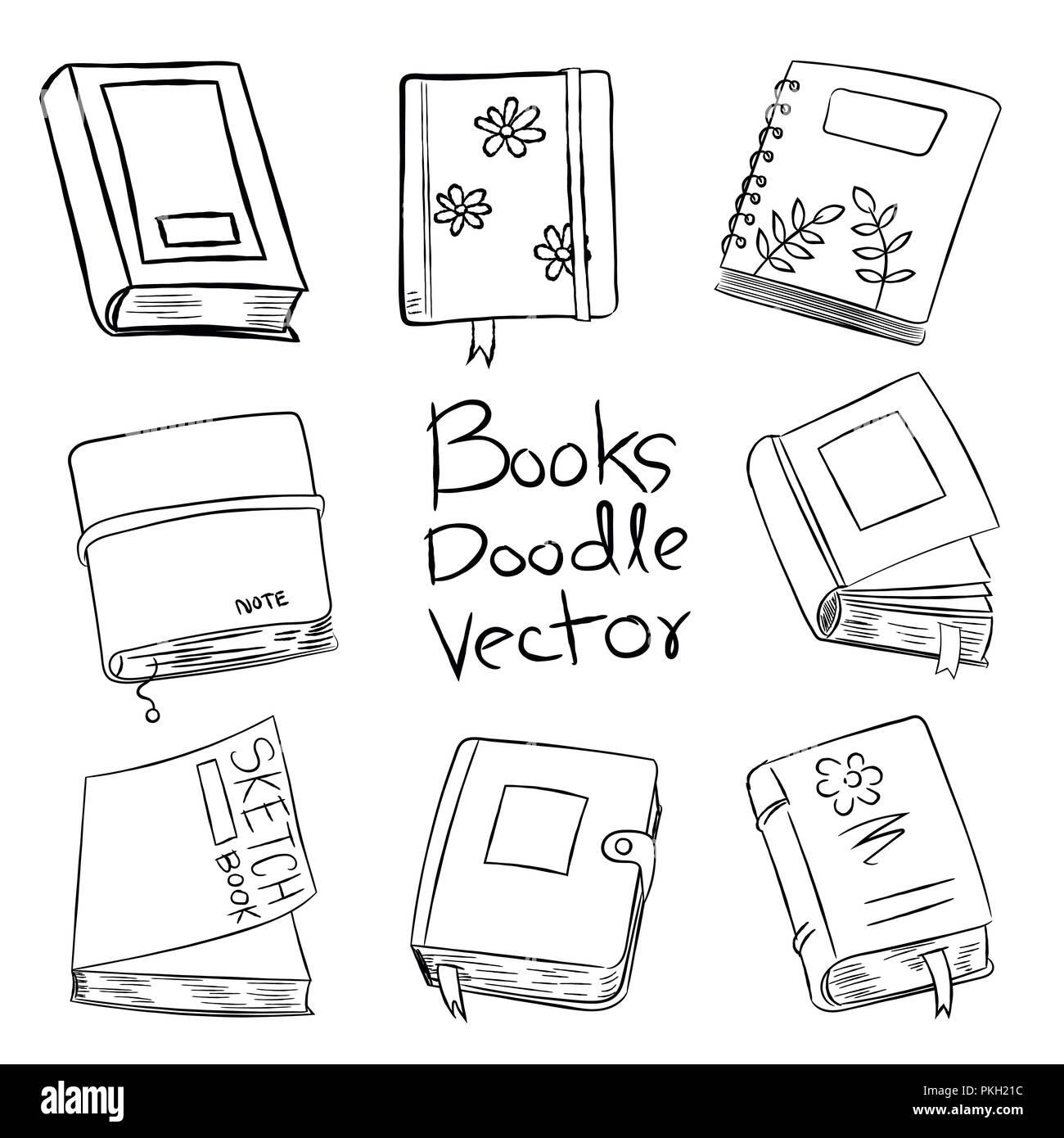 Libri Doodle Vettore Disegnati A Mano Per Il Libro Da Colorare