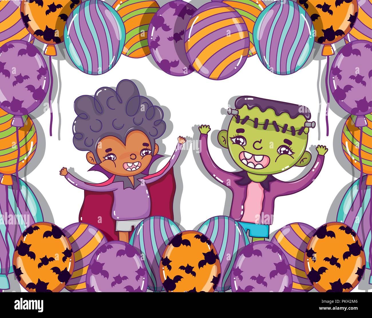 Halloween e cartoni animati per bambini illustrazione vettoriale