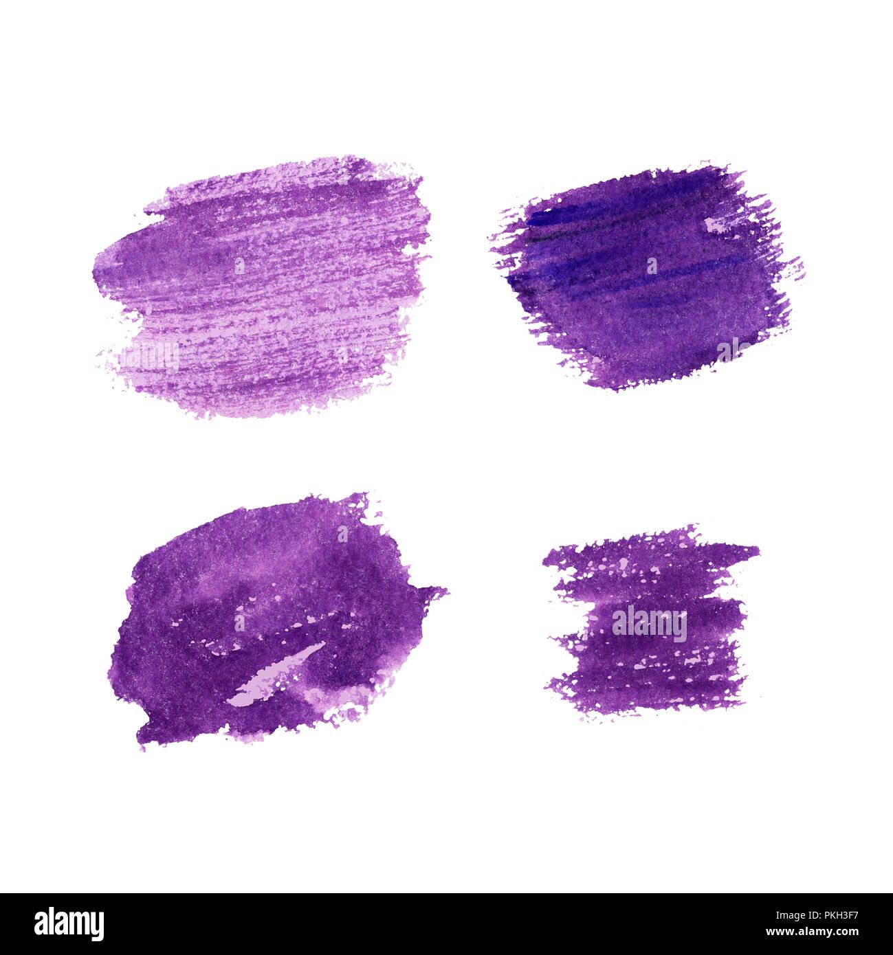 Colore lavanda pennellate disegnate a mano sullo sfondo. Vernice viola cospargere su sfondo bianco. Macchia di lavanda collezione pastello. Il giorno di San Valentino i tratti di pennello greeting cards design. Isolato Immagini Stock