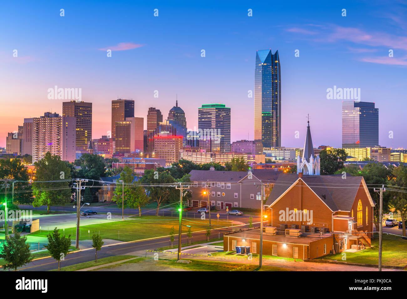 Oklahoma City, Oklahoma, Stati Uniti d'America skyline del centro al crepuscolo. Immagini Stock
