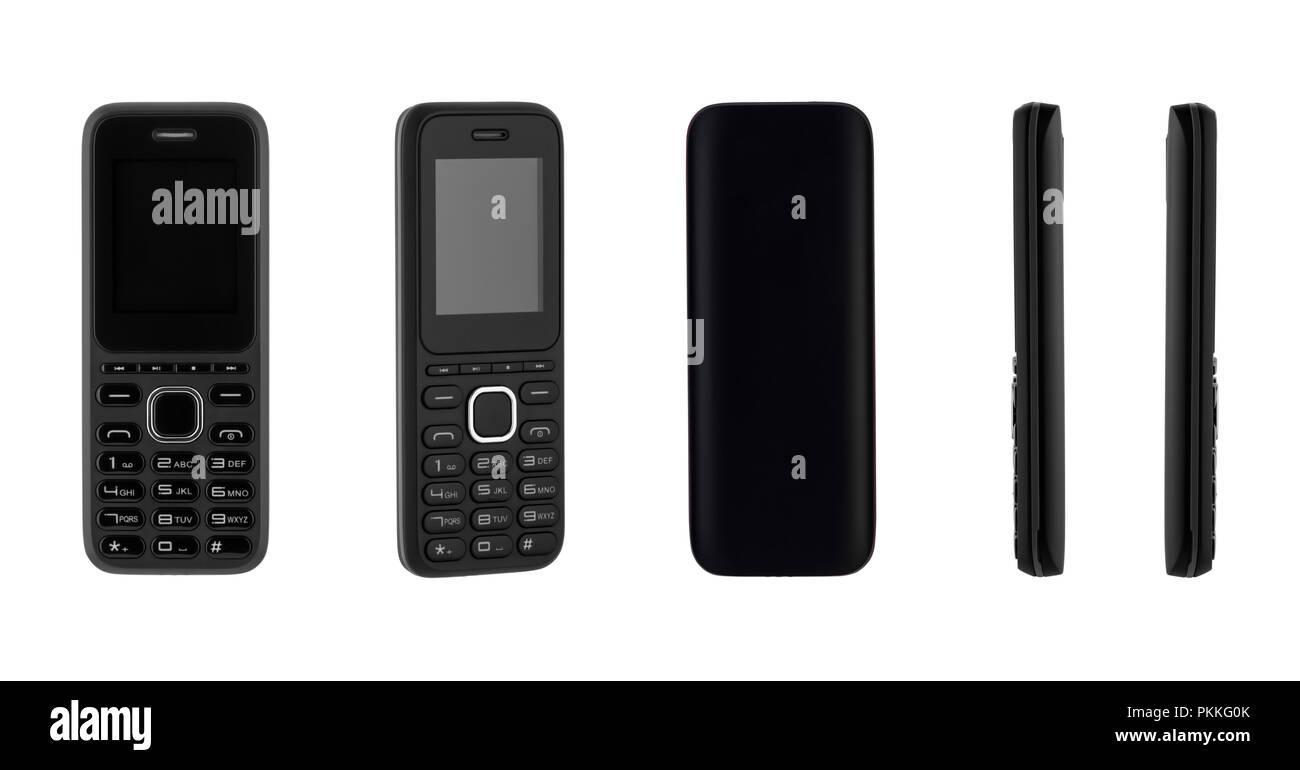 Da Diverse Angolazioni Pulsante Telefono Cellulare Su Sfondo Bianco