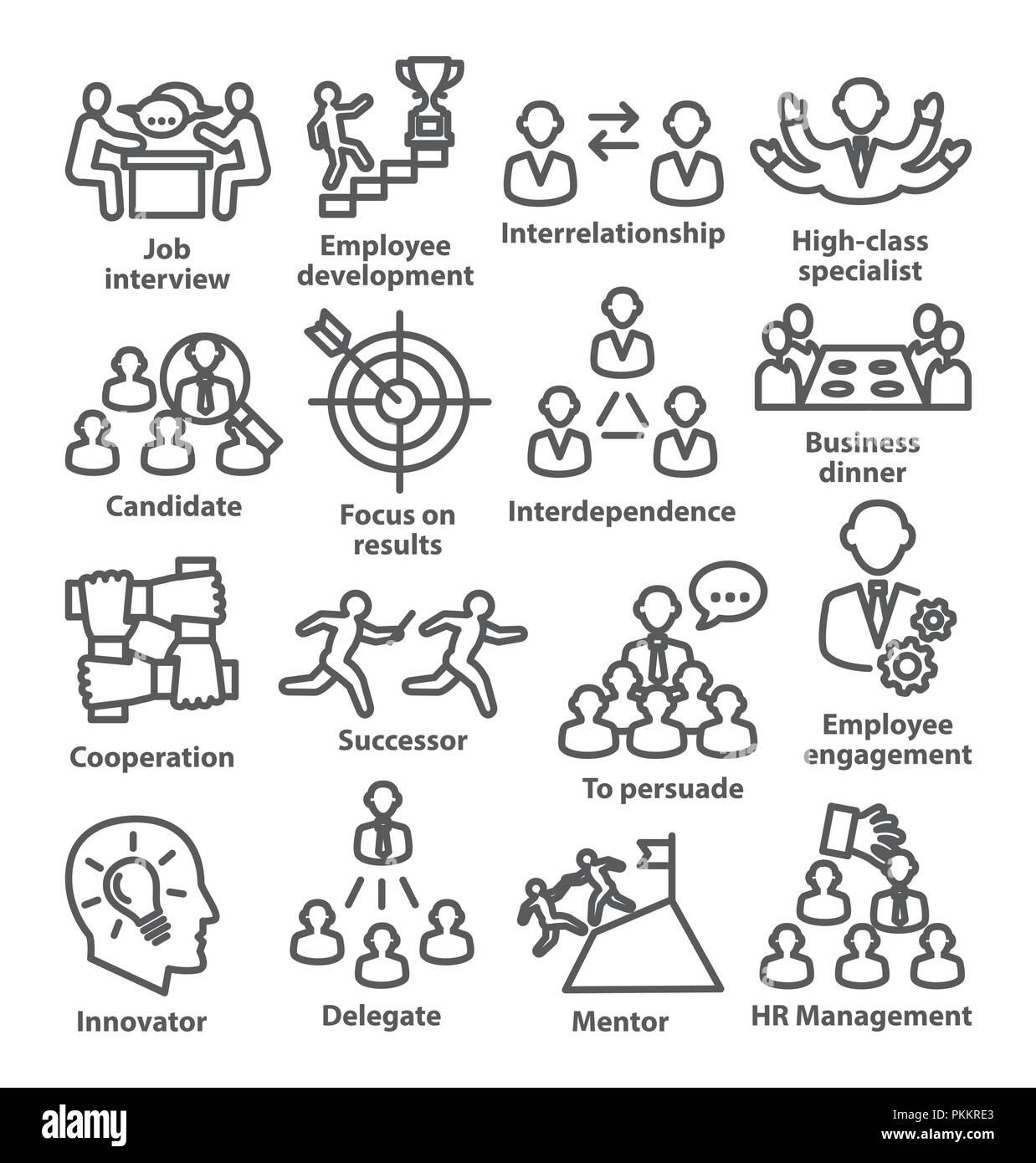 Business management le icone della linea Pack 33 Immagini Stock
