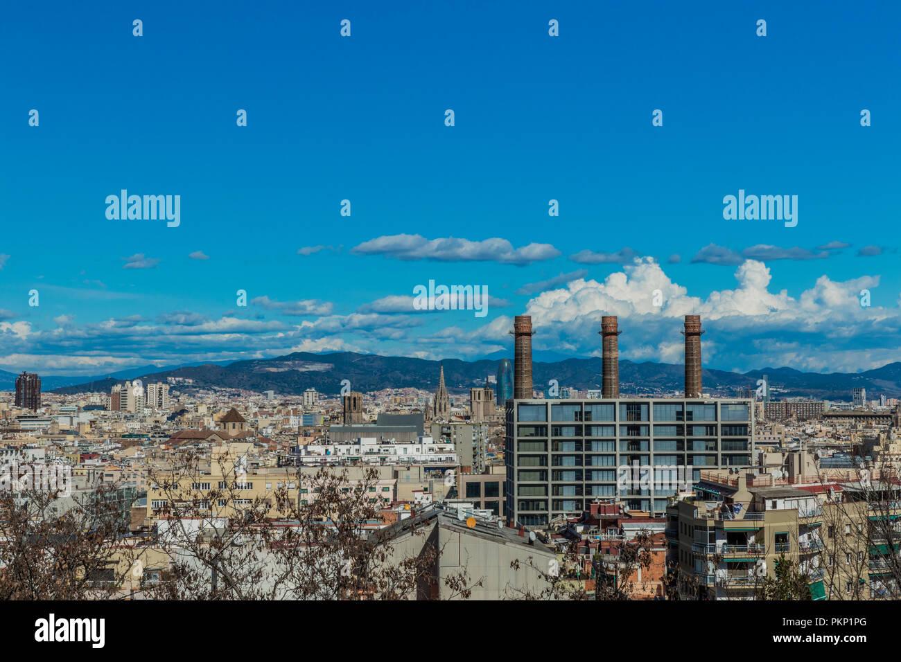 Una bellissima vista di una parte di Barcellona, Spagna Immagini Stock