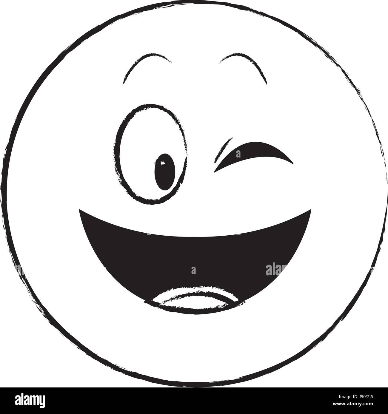 Flirt occhio chat schizzo di emoticon Immagini Stock