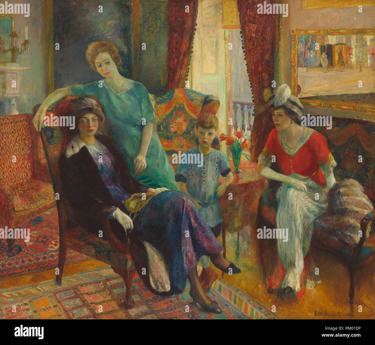 Gruppo di famiglia. Data: 1910/1911. Dimensioni: complessivo: 182.8 x 213,3 cm (71 15/16 x 84 in.) incorniciato: 200.7 x 231.1 x 7 cm (79 x 91 x 2 3/4 in.). Medium: olio su tela. Museo: National Gallery of Art di Washington DC. Author: William Glackens. Glackens, William James. Immagini Stock