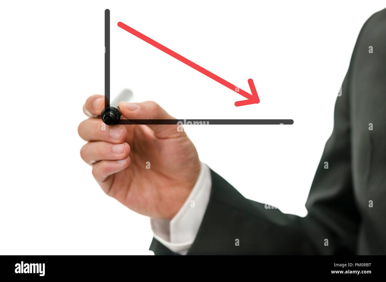 Uomo di affari la caduta di disegno grafico con freccia rossa. Immagini Stock