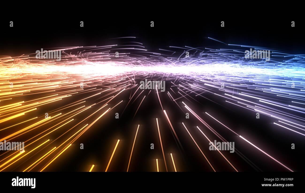Particelle scorrevoli uno sciame con sentieri incandescente. 3d'illustrazione. Foto Stock