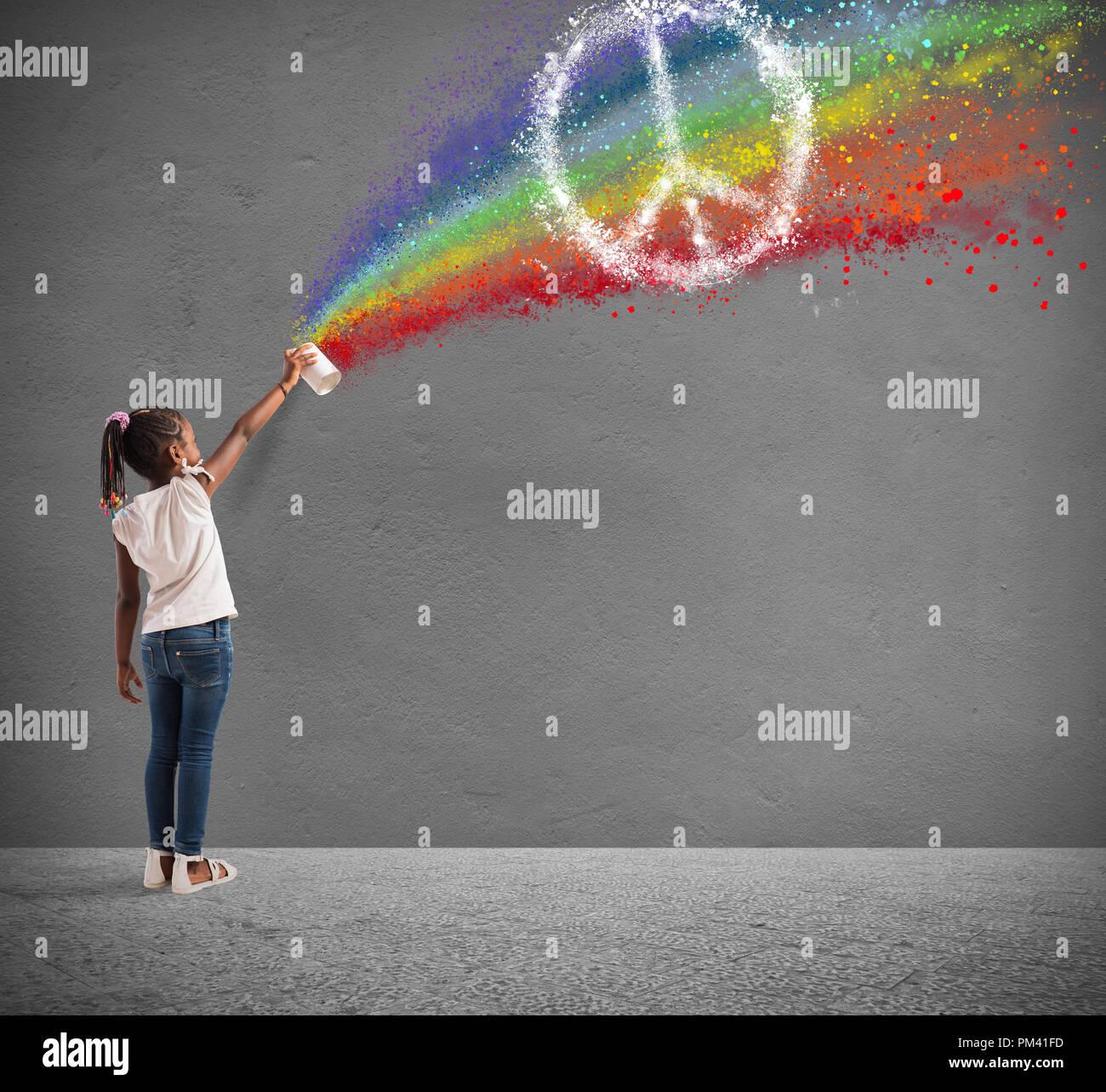 Bambino disegna con spray e con il colore della pace Immagini Stock